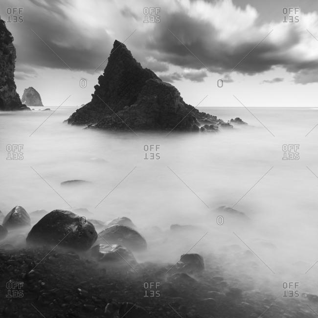 Morning sea and rock formations at Futo coast, Shizuoka Prefecture, Japan