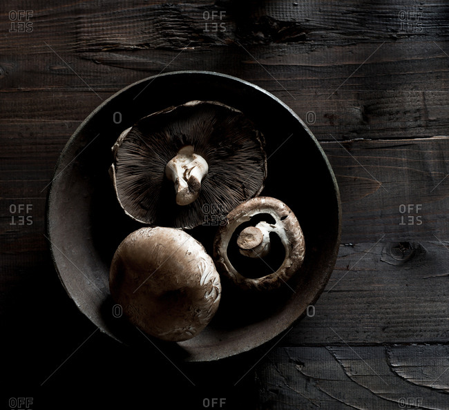 Raw Portabella Mushrooms