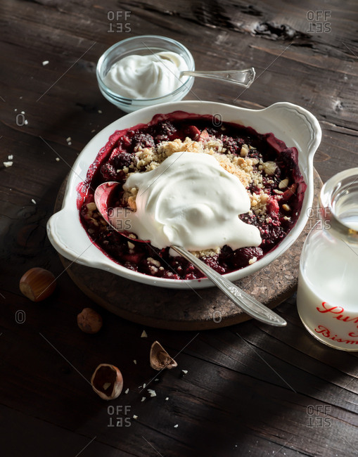 Berry Apple Hazelnut Crisp with Whipped Cream