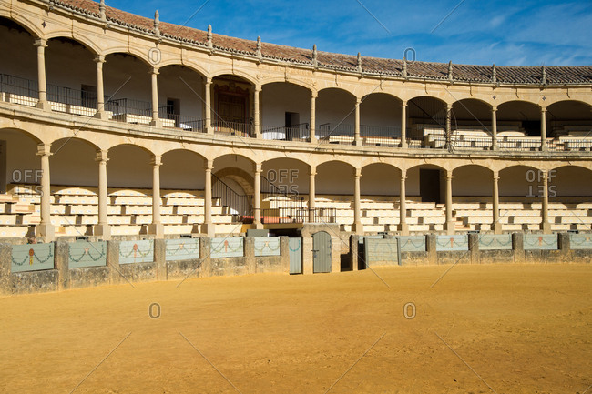 Big sandy empty arena in Ronda bullring, Ronda, Andalusia, Spain