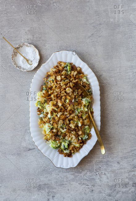 Leek and broccoli baked casserole with breadcrumbs on top