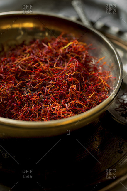 Spanish Saffron in a metal bowl