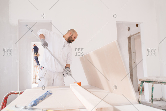 Painter dipping his roller on a home improvement site