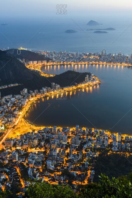 View From Corcovado Mountain In Tijuca Forest To Lagoa Rodrigo De Freitas, Rio De Janeiro, Brazil