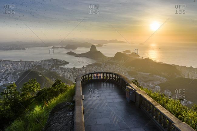 Corcovado Mountain During Sunrise In Rio De Janeiro, Brazil