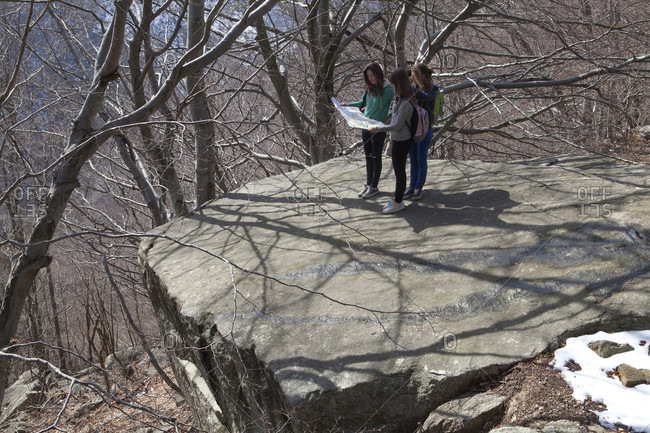 Teen girls use map to determine direction, hardwood forest