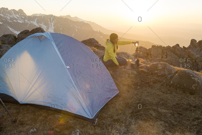 A Woman Camping On Blaine Peak Below Mount Sneffels Of Uncompahgre National Forest