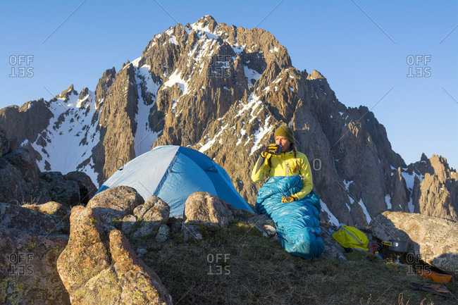A Woman Camping On Blaine Peak Below Mount Sneffels In Colorado