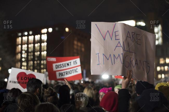 Washington Square Park, New York City - January 25, 2017: Signs at a political rally