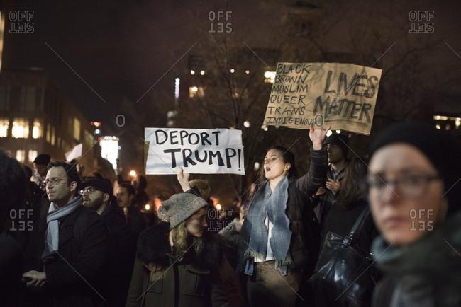 Washington Square Park, New York City - January 25, 2017: Crowds at a political rally