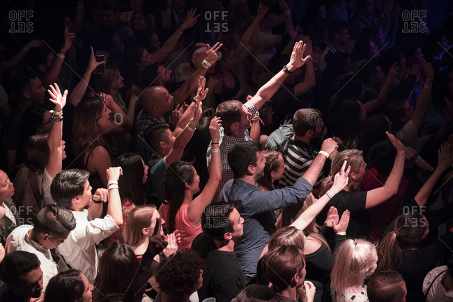 New York City - June 4, 2015: Excited crowd at a concert