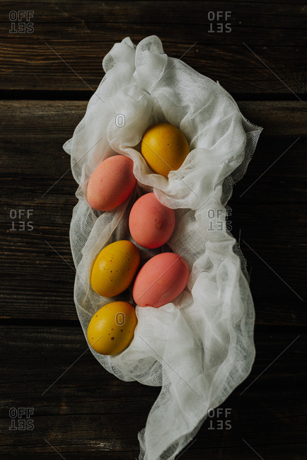 Easter eggs on a cloth