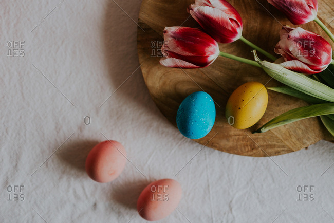 Dyed Easter eggs and tulips