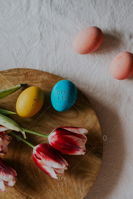 Dyed Easter eggs with tulips