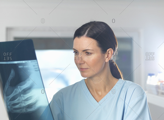 Orthopedic consultant viewing x-ray of hand