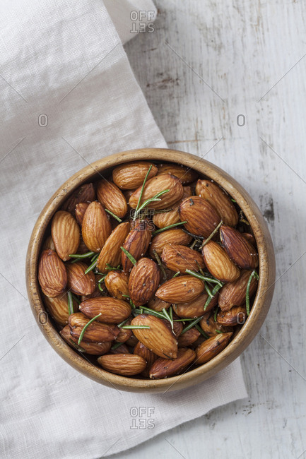 Overhead view of almonds in a bowl