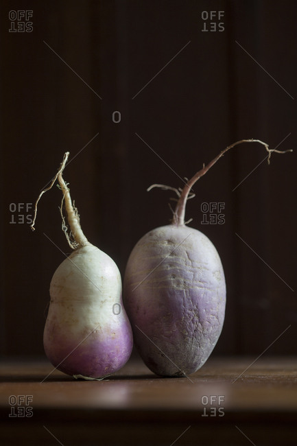 Close-up of two root vegetables