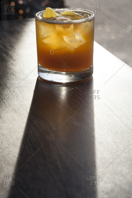Refreshing beverage in bright light