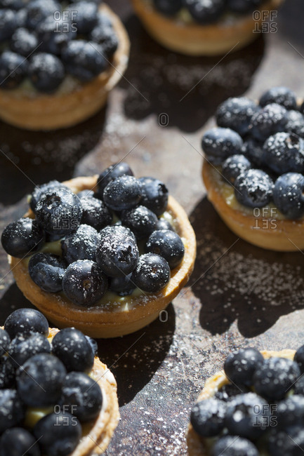 Close-up of sugar dusted blueberry tarts