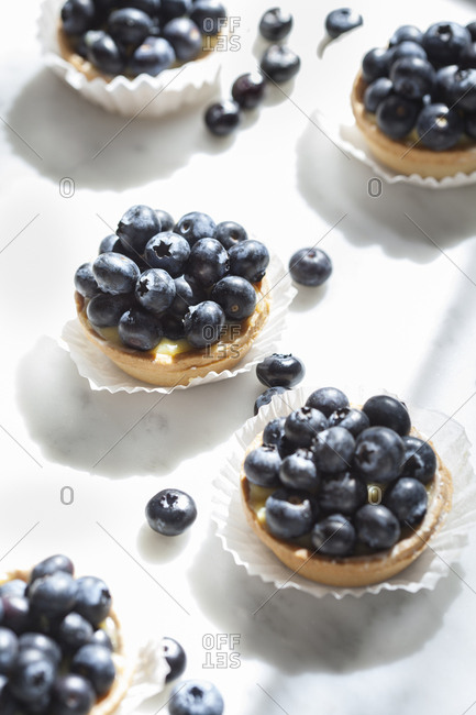 Individual sized blueberry tarts