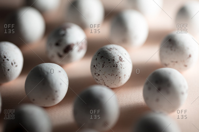 Close-up of small speckled eggs