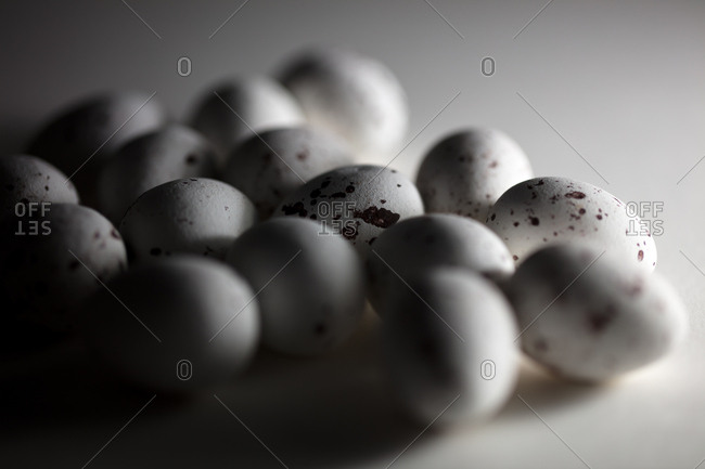 Group of small speckled eggs