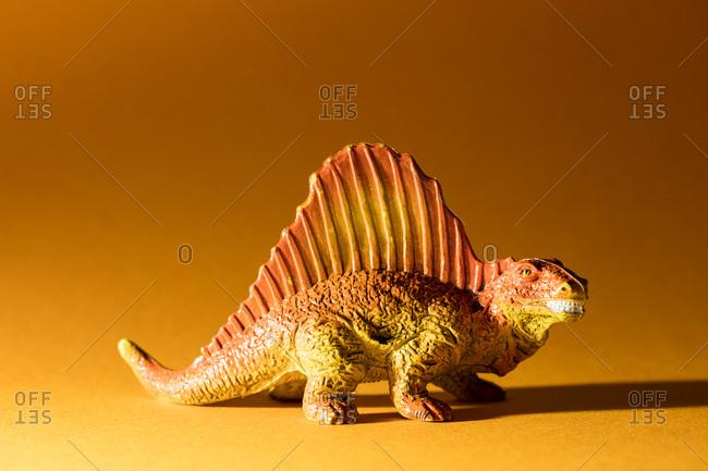 Close-up of a toy Dimetrodon dinosaur