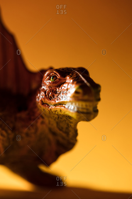 Close-up of the a toy Dimetrodon dinosaur's face