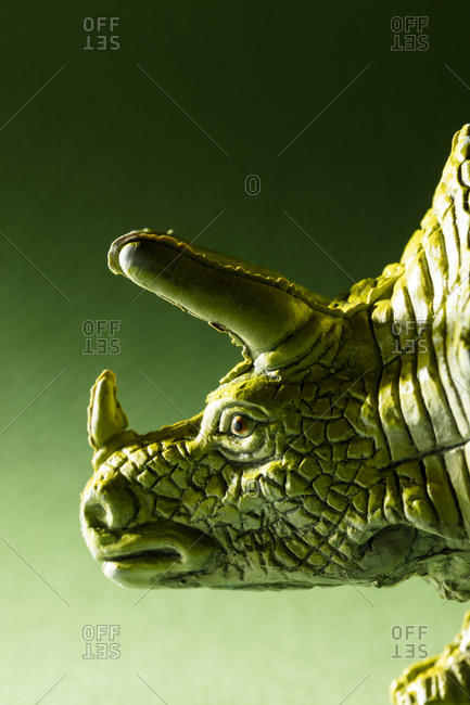 Portrait of a toy Triceratops dinosaur