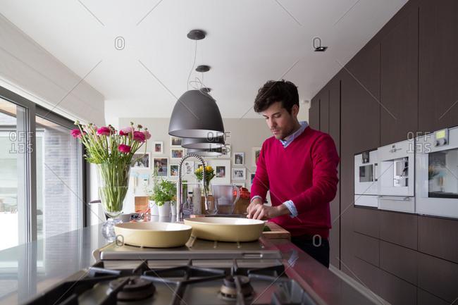 Man preparing food in a kitchen