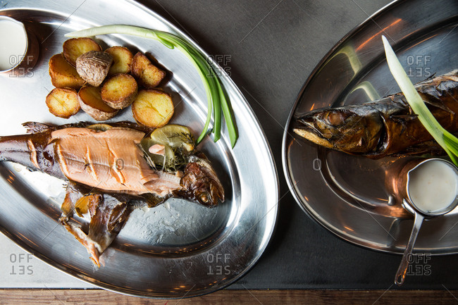 Fish dishes with potatoes