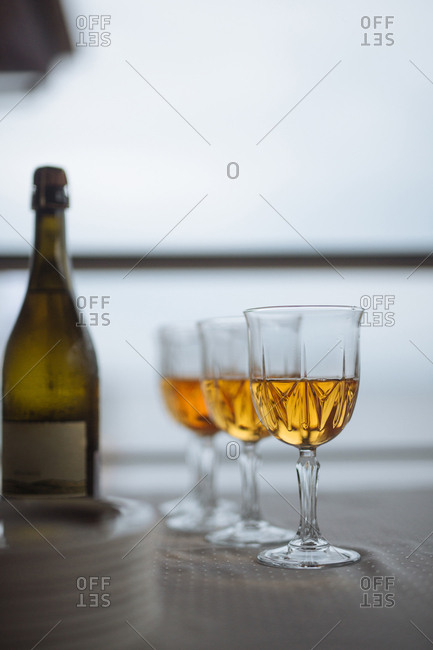Glasses with champagne on table