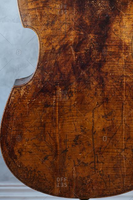 A worn wood stringed instrument