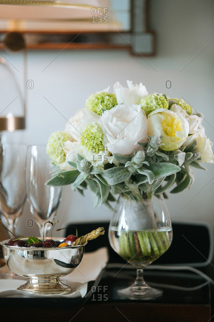 Bridal bouquet by cherry bowl