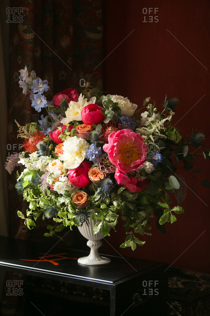 A large bouquet on a table