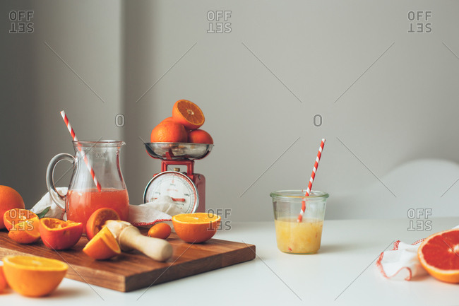 Citrus fruit and a scale
