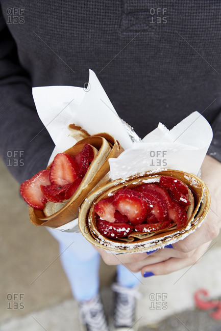 Chocolate ganache and strawberry crepes
