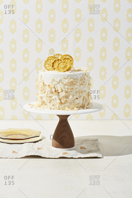 Coconut cake with dehydrated lemon slices