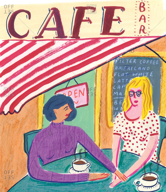 Woman consoling her friend in a cafe