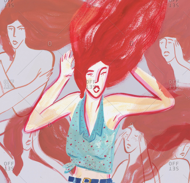 Redhead woman with shocked expression