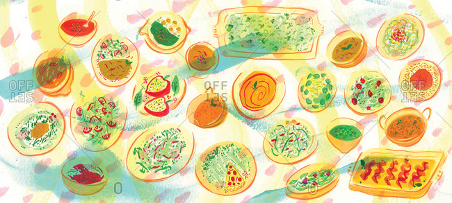 Illustration of food served on a table