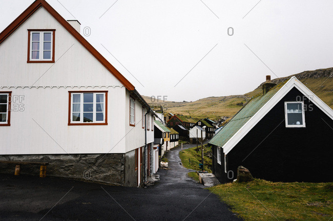 Narrow street in the village of Mykines, Faroe Islands