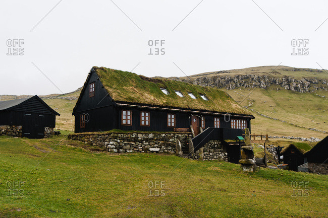 Buildings with grass roofs in the Faroe Islands