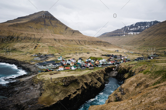 Village of Gjogv on Eysturoy with it's unique harbor between two cliffs