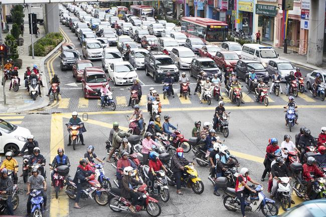 Kuala Lumpur, Malaysia - February 27, 2017: City rush hour traffic