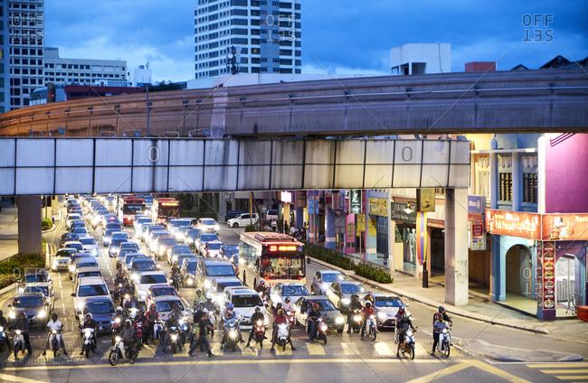 Kuala Lumpur, Malaysia - February 27, 2017: Evening rush hour traffic