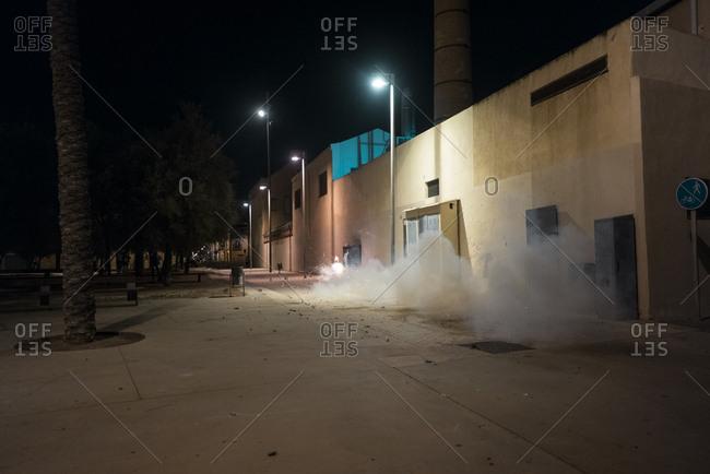 Firecrackers explodes