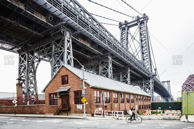 Brooklyn, NY - March 14, 2017: Brooklyn, Williamsburg, view near the Williamsburg Bridge