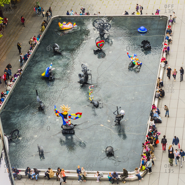 Paris, France - March 14, 2017: Beaubourg, Place (square) Igor Stravinky, the fountain by Niki de Saint Phalle and Jean Tinguely