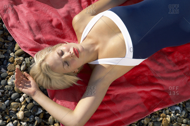 Woman Lying Down at Beach